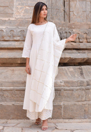 Plain Cotton Pakistani Suit in Off White