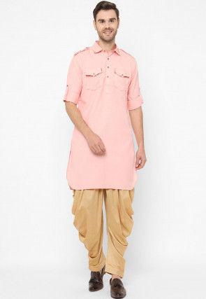 Plain Cotton Pathani Kurta Set in Pink