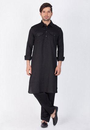 Plain Cotton Pathani Suit in Black