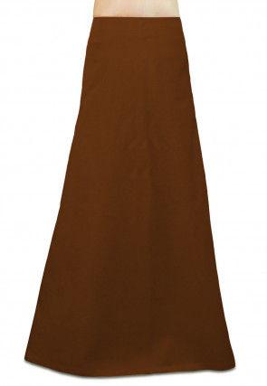 Plain Cotton Petticoat in Brown