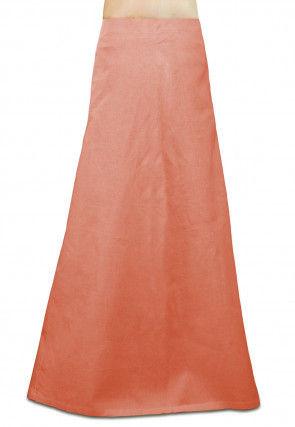 Plain Cotton Petticoat in Peach