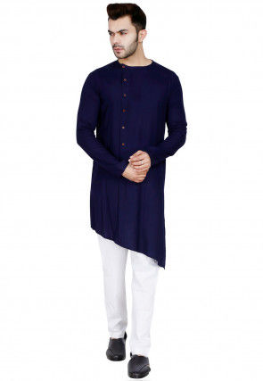 Plain Cotton Rayon Asymmetric Kurta Set in Navy Blue