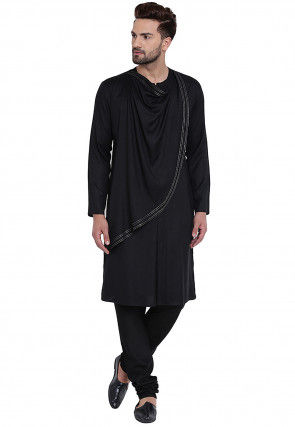 Plain Cotton Rayon Kurta Set in Black