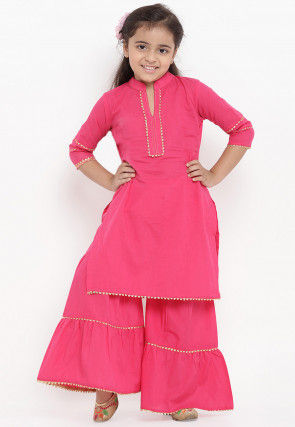 Plain Cotton Rayon Kurta Set in Pink