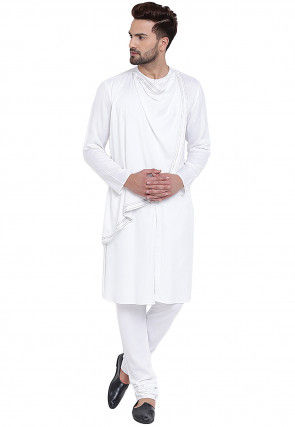 Plain Cotton Rayon Kurta Set in White