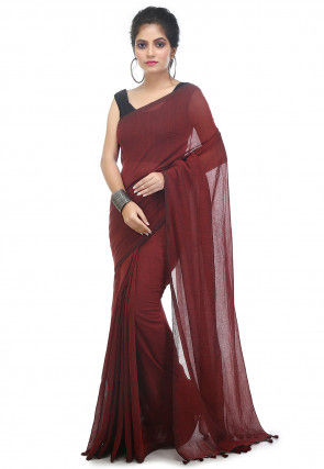 Plain Cotton Saree in Maroon