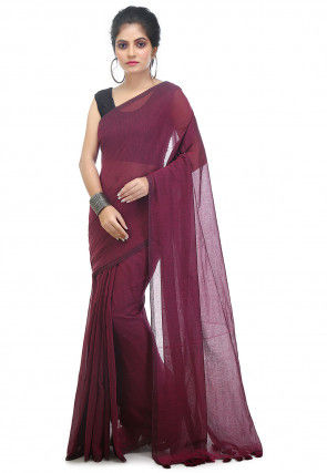 Plain Cotton Saree in Wine