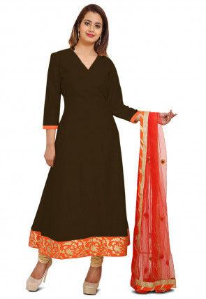 Plain Cotton Silk Anarkali Style Suit in Dark Brown