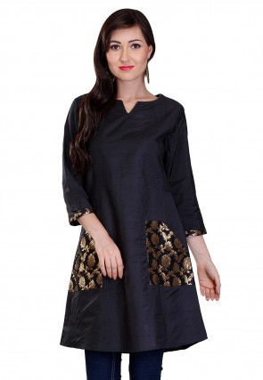 Plain Cotton Silk and Brocade Silk Kurti in Black