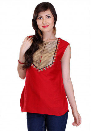 Plain Cotton Silk and Brocade Silk Top in Red