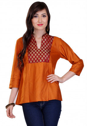 Plain Cotton Silk and Brocade Top in Mustard and Maroon