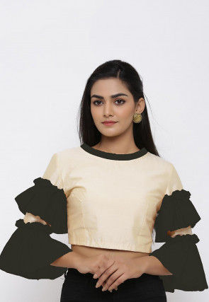 Plain Cotton Silk Blouse in Beige and Black