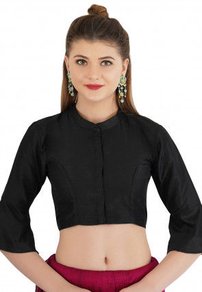 Plain Cotton Silk Blouse in Black