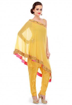 Plain Cotton Silk Cape Style Tunic Set in Yellow