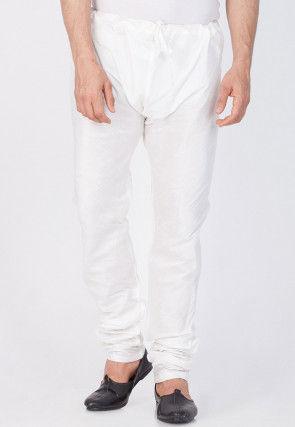 Plain Cotton Silk Churidar in Off White