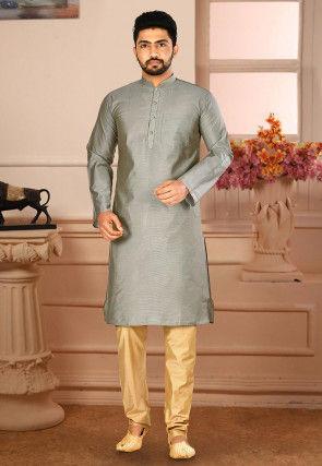 Plain Cotton Silk Kurta Pajama in Grey