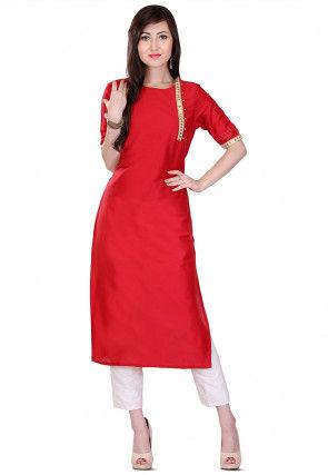 Plain Cotton Silk Kurta Set in Red