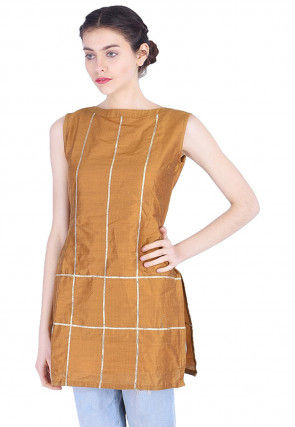 Plain Cotton Silk Kurti in Dark Mustard