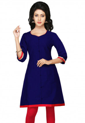 Plain Cotton Silk Kurti in Dark Blue