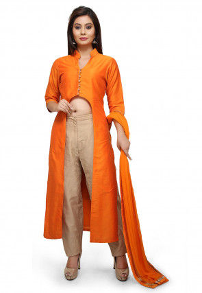 Plain Cotton Silk Pakistani Suit in Orange