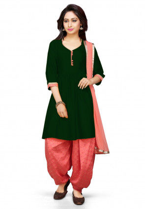 Plain Cotton Silk Punjabi Suit in Dark Green