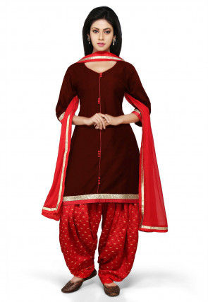Plain Cotton Silk Punjabi Suit in Maroon