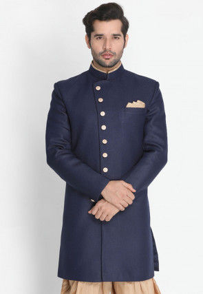 Plain Cotton Silk Sherwani in Navy Blue