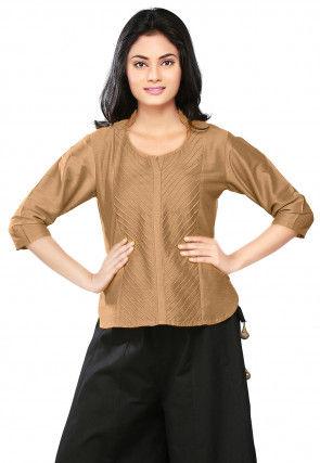 Plain Cotton Silk Top in Beige