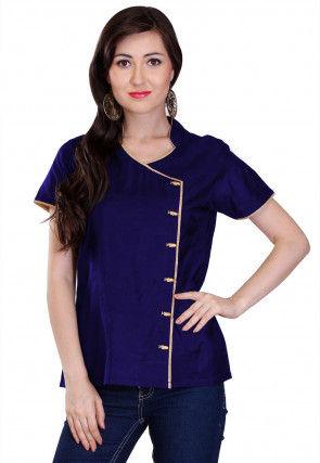 Plain Cotton Silk Top in Navy Blue
