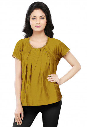 Plain Cotton Silk Top in Olive Green