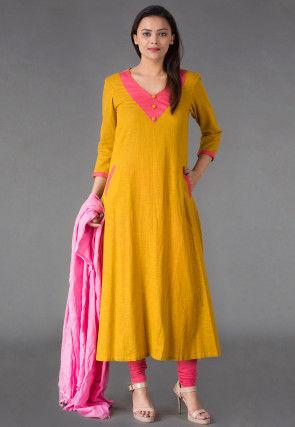 Plain Cotton Slub A Line Suit in Mustard