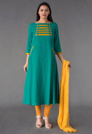 Plain Cotton Slub Anarkali Suit in Sea Green