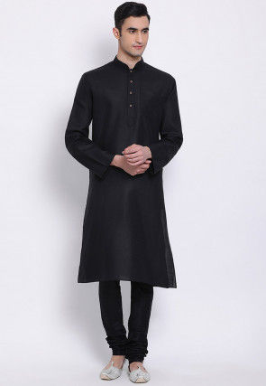 Plain Cotton Slub Kurta Set in Black