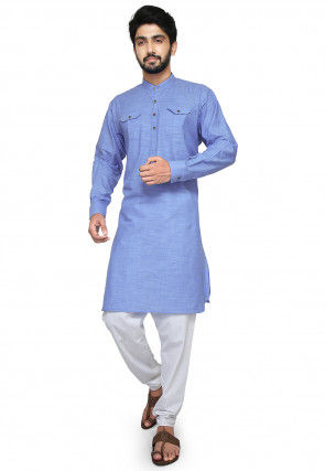 Plain Cotton Slub Pathani Suit in Light Blue
