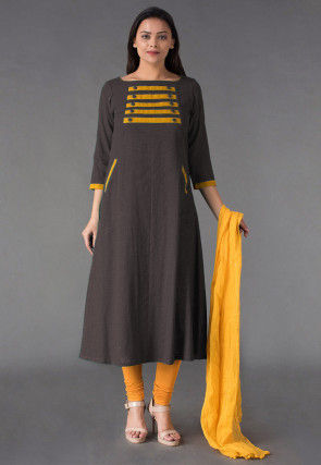 Plain Cotton Slub Straight Suit in Brown
