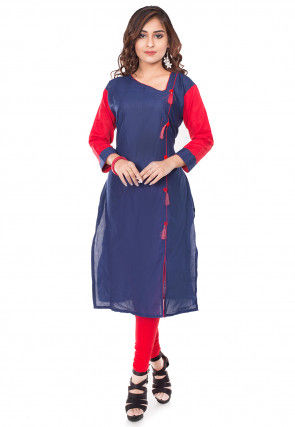Plain Cotton Straight Kurta Set in Navy Blue and Red