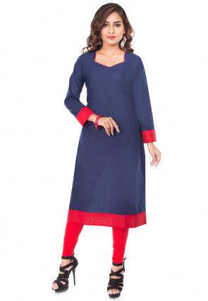 Plain Cotton Straight Kurta Set in Navy Blue