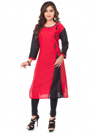 Plain Cotton Straight Kurta Set in Red and Black