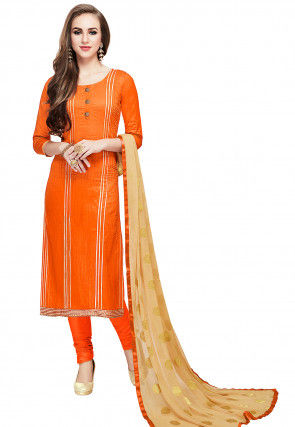 Plain Cotton Straight Suit in Orange