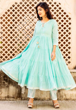 Plain Cotton Tiered Kurta Set in Light Blue