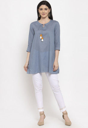 Plain Cotton Tunic with Pant in Grey