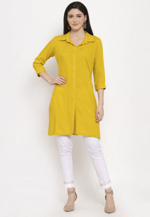 Plain Cotton Tunic with Pant in Yellow