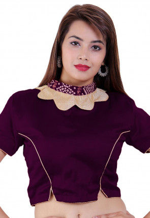 Plain Crepe Blouse in Purple
