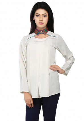 Plain Crepe Flared Top in Off White