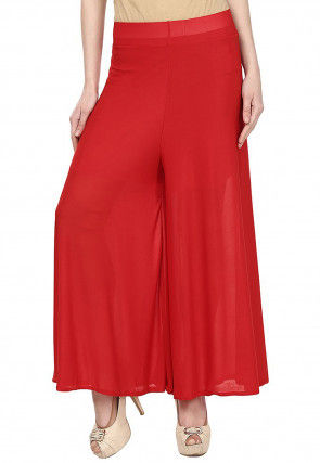 Plain Crepe Palazzo in Red