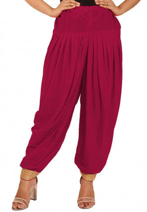 Plain Crepe Patiala in Fuchsia