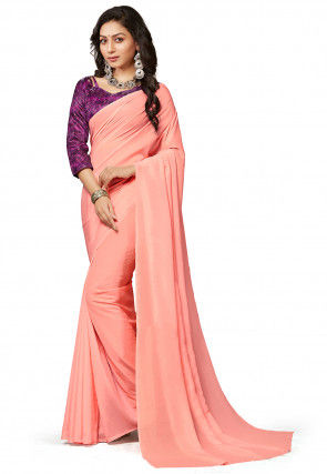 Plain Crepe Saree in Dark Peach