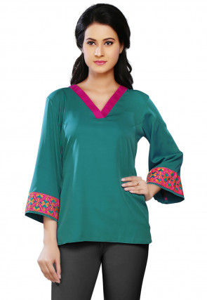 Plain Crepe Top in Teal Green
