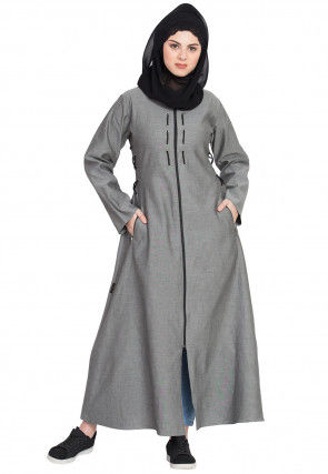 Plain Denim Abaya in Grey