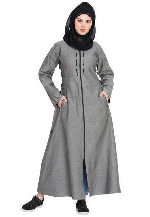 Plain Denim Abaya in Grey